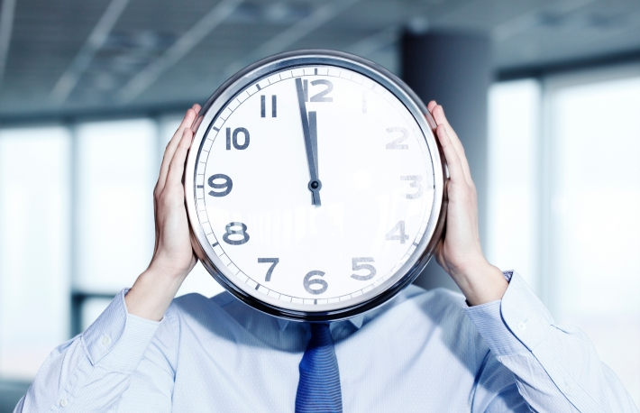 clock head office work time deadline