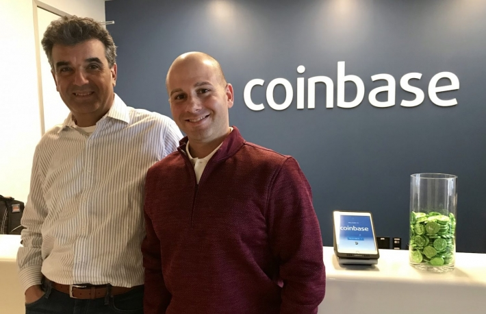 Coinbase president and COO Asiff Hirji (L) with Eric Scro (R), vice president of finance.