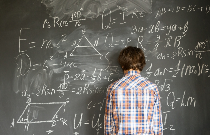 complicated confused frustrated blackboard complex math