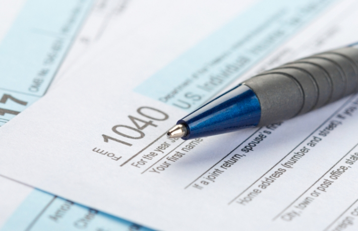 tax form blue pen IRS