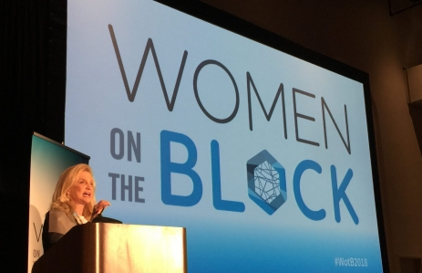 Image of New York Congresswoman Carolyn Maloney at Women on the Block via CoinDesk