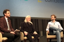 From left: Nolan Bauerle, Whitfield Diffie, and Zooko Wilcox. Image via Annaliese Milano for CoinDesk. Taken at Consensus 2018 in New York, 5-14-18