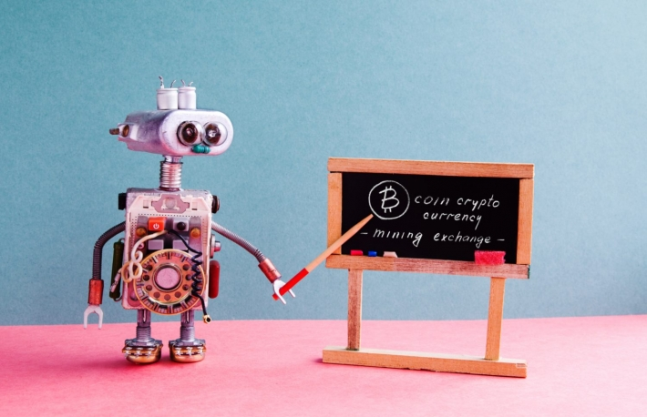 Robot explains crypto blackboard bitcoin
