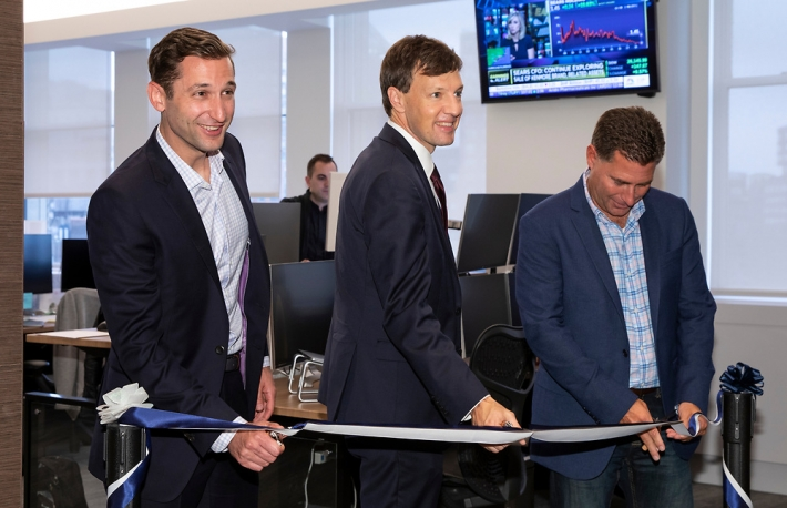 Photo of Adam White of Coinbase Institutional (R), New York City Economic Development Corporation CEO James Patchett, and Coinbase chief compliance officer Jeff Horowitz (L), via Coinbase
