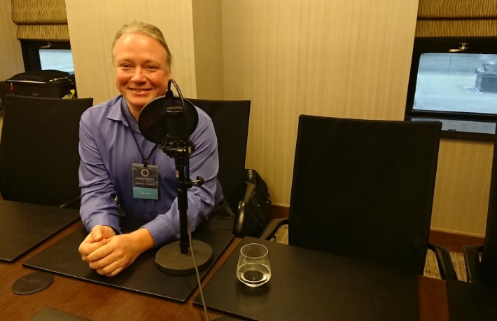 Brian Behlendorf of Hyperledger, September 2018, photo by Evan  Engel for CoinDesk