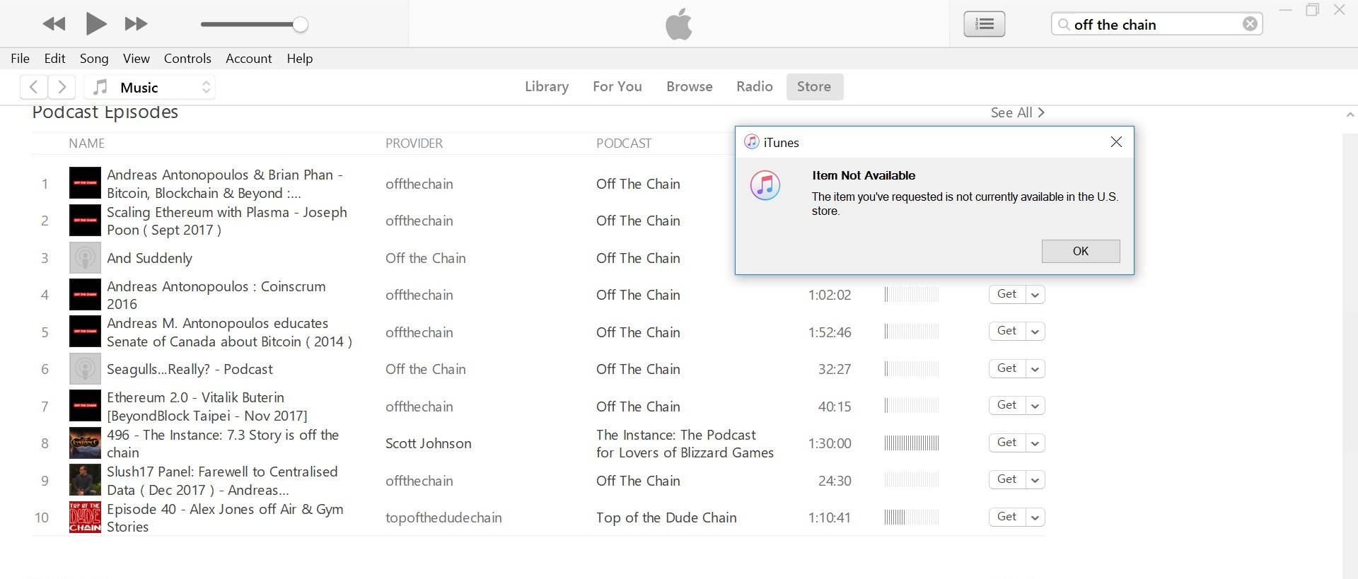 Off the Chain' Crypto Podcast Apparently Blocked on Apple iTunes