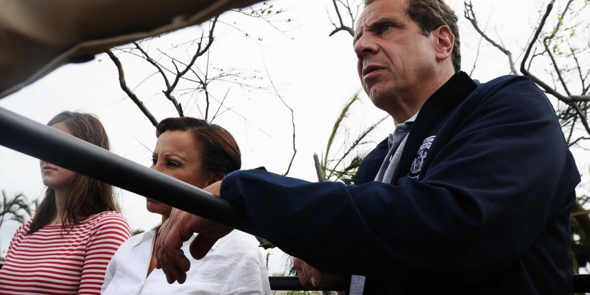 Governor of New York, Hon. Andrew Cuomo, and congresswoman Nydia Velazquez, visit the affected areas of Condado and Isla Verde, between San Juan and Carolina, P.R. (Photo by Sgt. Jose Ahiram Diaz-Ramos/PRNG-PAO)