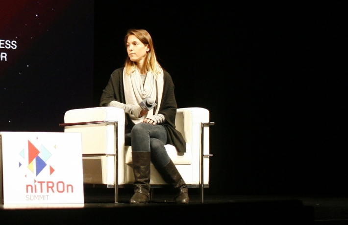 Bancor co-founder Galia Benartzi speaks at niTROn Summit 2019. (Photo by Brady Dale for CoinDesk)