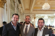 Image of billionaire Sandro Salsano (R), Doc.com CEO Charles Nader, and Forbes Latin America chairman Mariano Menendes at Mar-a-Lago via Doc.com