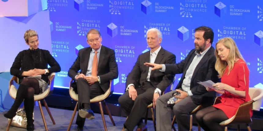 Image of Joel Blom and John Pigott at the DC Blockchain Summit (second and third from the right) by Nikhilesh De for CoinDesk