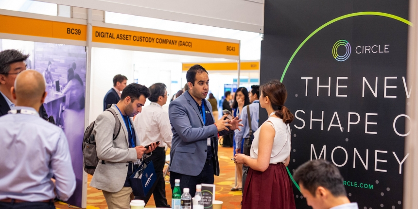 Image of Circle's booth at Consensus Singapore 2018 via CoinDesk archives