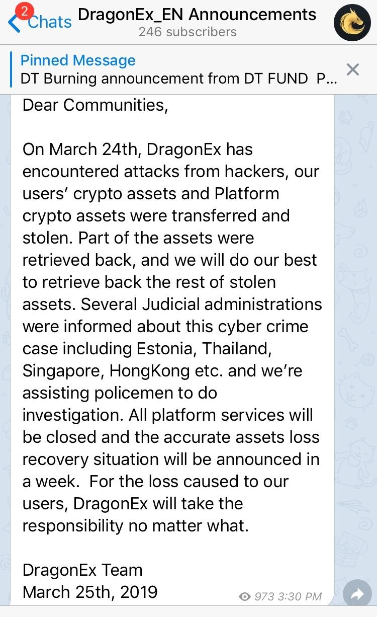 Crypto Exchanges Under Fire: DragonEx Hacked, Coinbene Undergoes Sudden Maintenance 14