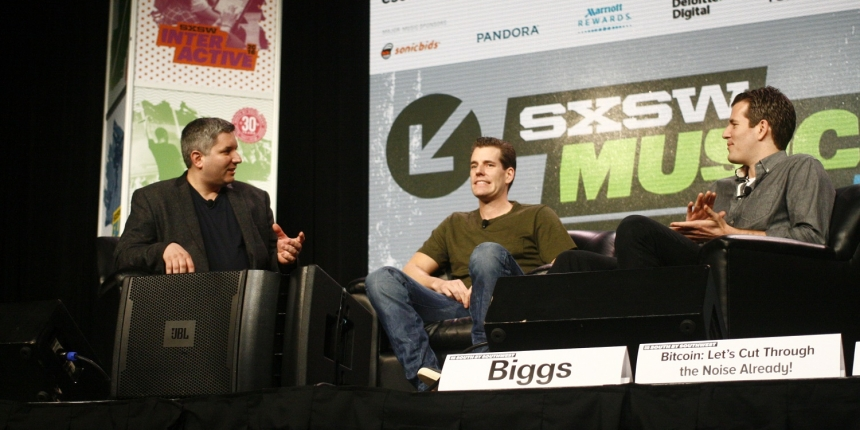Winklevoss brothers at SXSW 2019, interviwed by John Biggs of Techcrunch. Photo by Brady Dale.