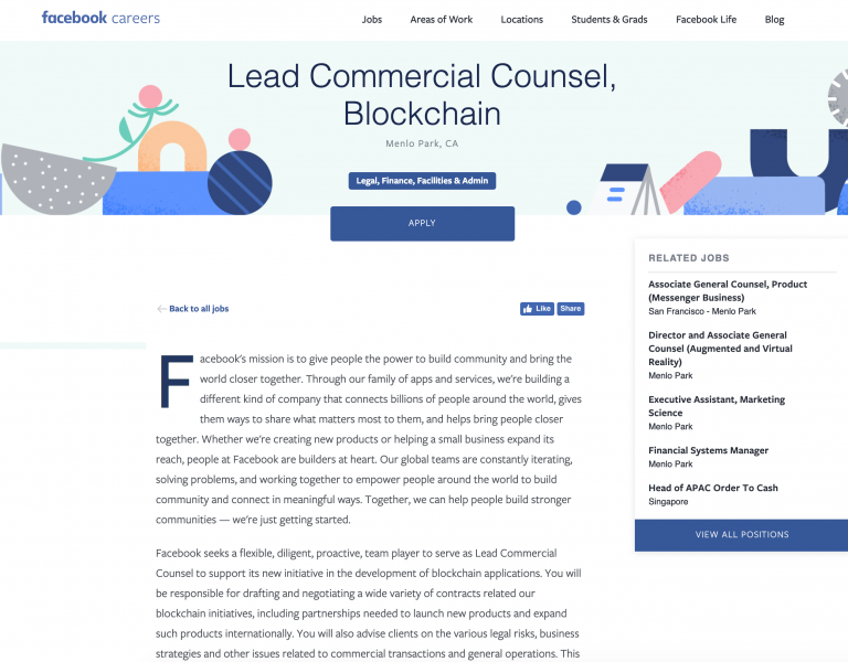 Facebook Seeks Counsel to Forge Blockchain Partnerships for New
