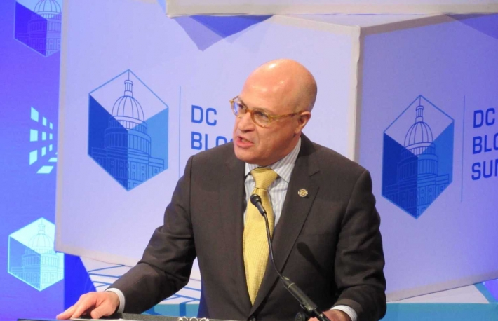 Christoper Giancarlo, chairman of the CFTC, at the DC Blockchain Summit, March 2019, photo by Nikhilesh De for CoinDesk