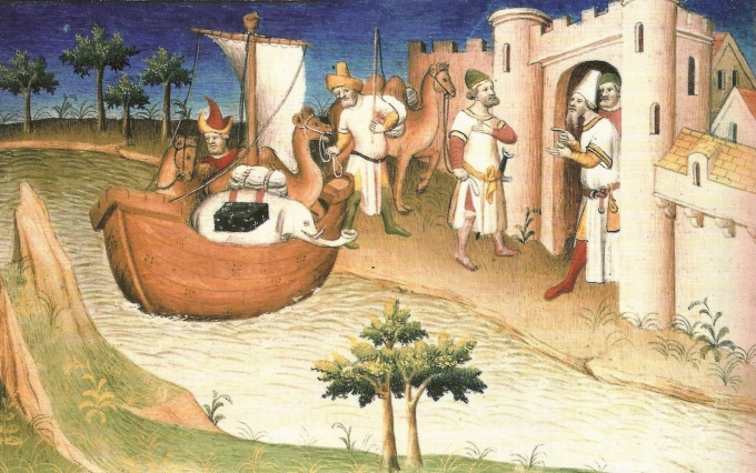 """Marco Polo travelling, Miniature from the Book """"The Travels of Marco Polo"""" (""""Il milione""""), originally published during Polo's lifetime (c. 1254 - January 8, 1324), but frequently reprinted and translated."""