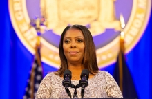 New York, NY - January 1, 2019: State Attorney General Letitia James addresses during Governor Andrew Cuomo inauguration for third term at Ellis Island - Image