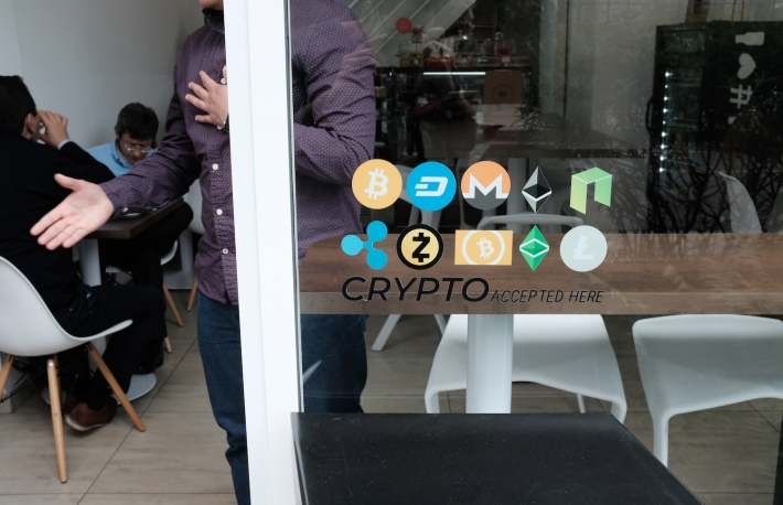 Colombian café that accepts cryptocurrency and is run by a Venezuelan migrant, image via the Open Money Initiative