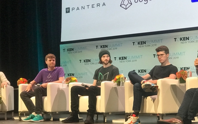 From left: Joey Krug, Tom Kysar and Paul Fletcher-Hill speak at Token Summit 2019, photo by Brady Dale for CoinDesk