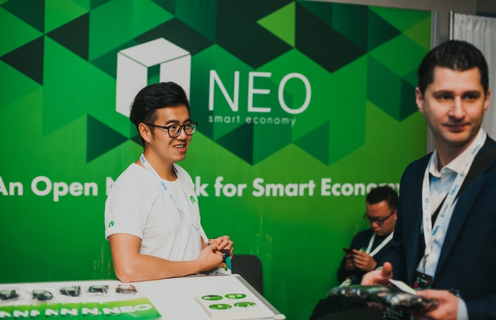 NEO booth at Consensus 2019, photo via CoinDesk archives
