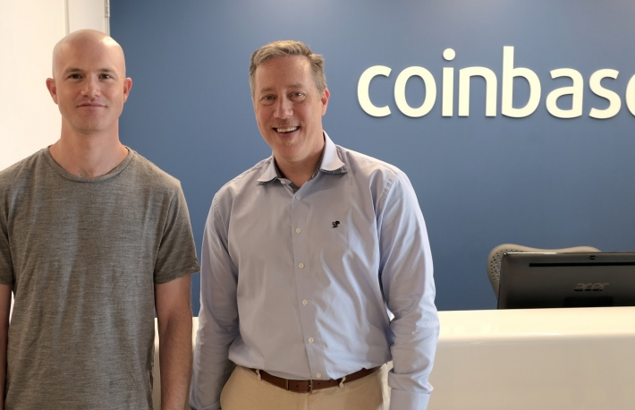 Tim Wagner (right) with Coinbase CEO Brian Armstrong (photo via Coinbase)