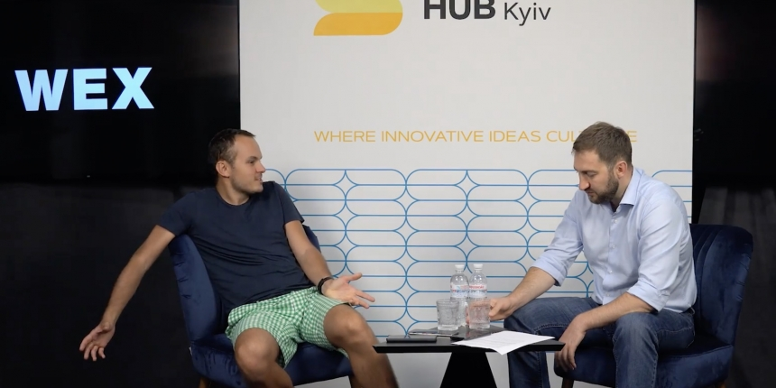 Dmitrii Vasilev, ex-CEO of the crypto exchange WEX, during and interview with Michael Chobanyan in Kiev, Ukraine
