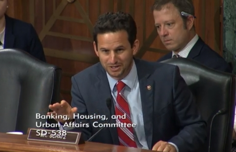 Senator Brian Schatz image via Senate Banking Committee https://www.banking.senate.gov/hearings/examining-regulatory-frameworks-for-digital-currencies-and-blockchain
