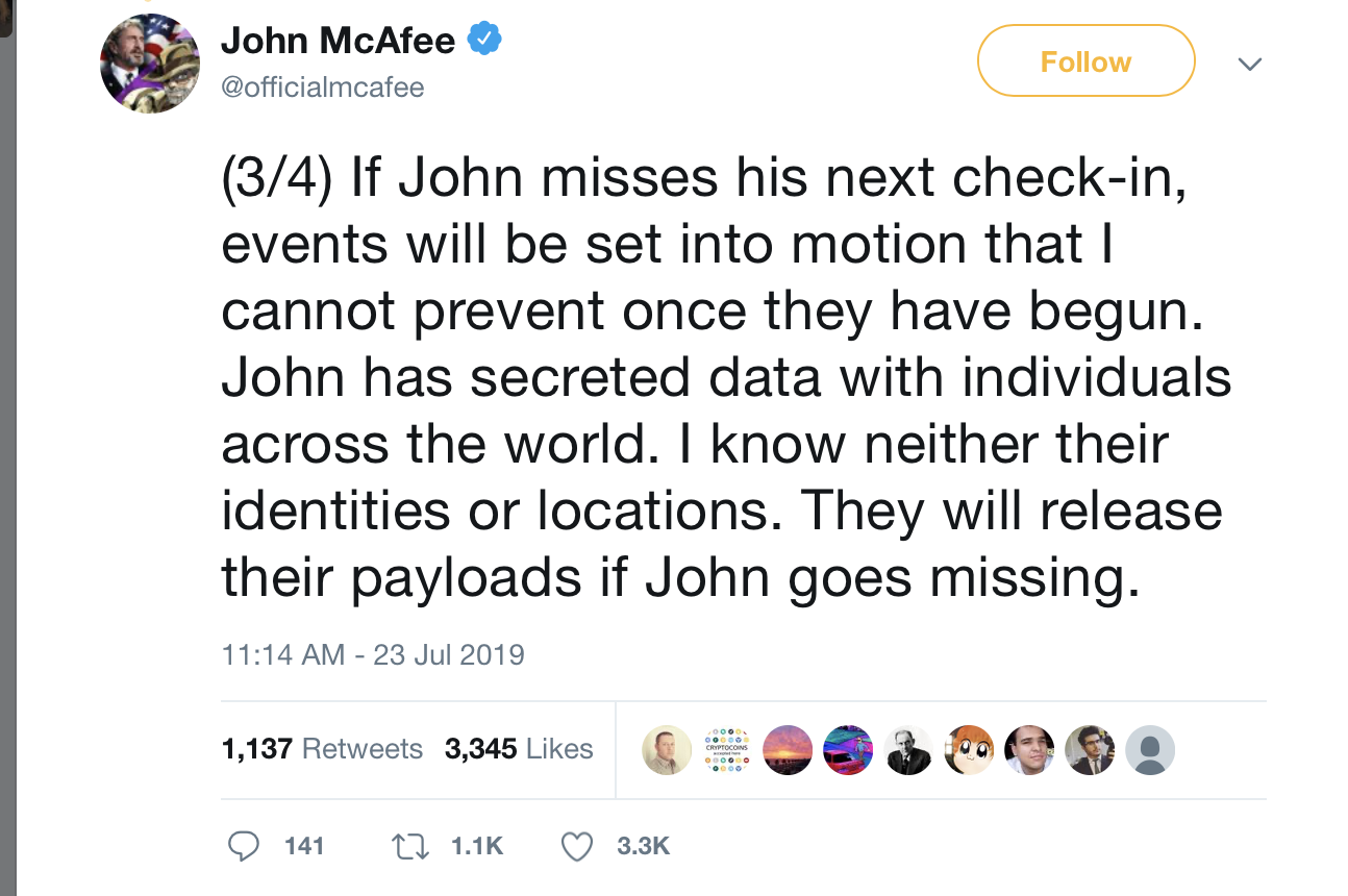 , Where in the World Is John McAfee?, Nice Bitcoins