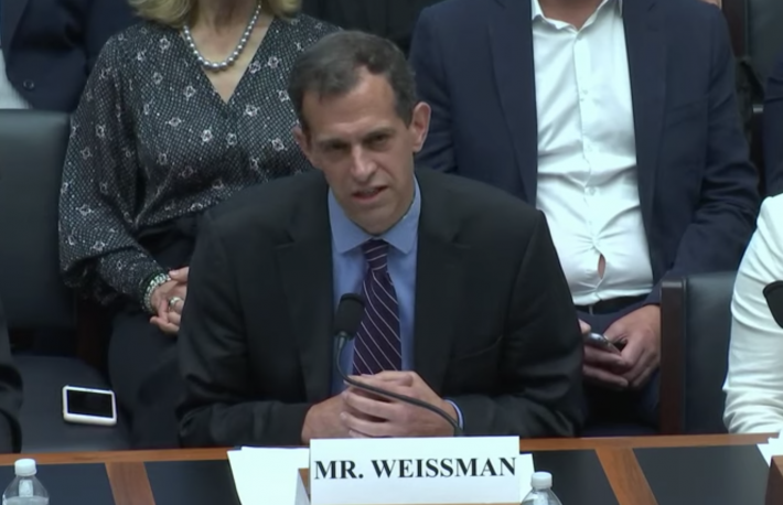 Robert Weissman, president of Public Citizen House Financial Services Committee hearing on Facebook/Libra July 17, 2019 image via House Financial Services Committee