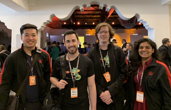 Members of the Nebulous team – including CEO David Vorick (second from right) – at the Bitcoin 2019 conference in San Francisco. Photo via Twitter/Nebulous