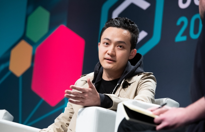 Justin Sun speaks at Consensus 2019, photo via CoinDesk archives