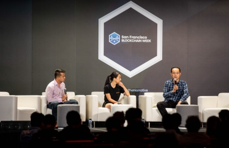 FBG Capital's Vincent Zhou speaks at San Francisco Blockchain Week 2018 (photo via Twitter/FBG Capital)