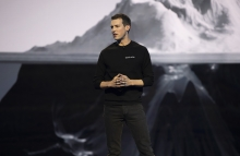 Block.one CEO Brendan Blumer speaks at the Voice launch event, June 2019. (Photo courtesy of Block.one)