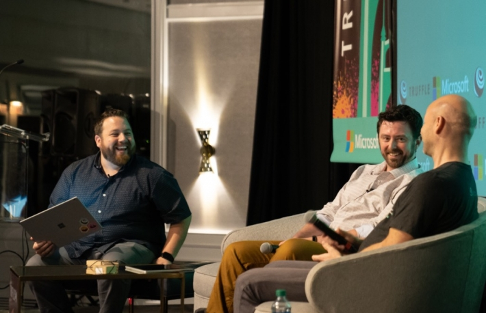 Truffle's Wes McVay (left) and Tim Coulter (right) speak at TruffleCon 2018 (photo via ConsenSys)