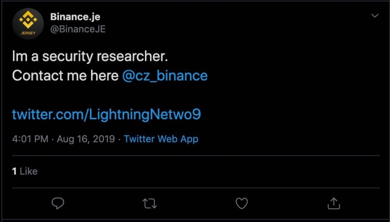 Someone Just Hacked Binance Jersey's Twitter Account - CoinDesk
