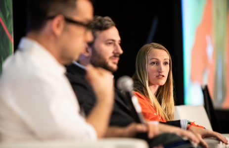 Kim Cope, product lead at Dapper Labs, with Fede Molina Head of Decentraland, speaking at Consensus 2019. (Photo via CoinDesk archives)
