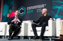Fred Wilson of Union Square Ventures and Brian Armstrong of Coinbase at Consensus 2019 (Photo by CoinDesk)