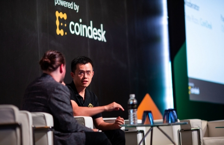 JGX_4039 Consensus Singapore 2018 Changpeng Zhao CEO Binance Pete Rizzo Editor CoinDesk panel speaker
