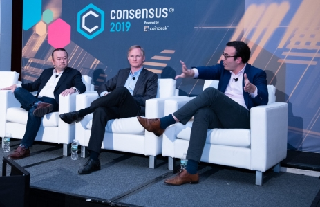 ADS_3259 Consensus 2019  Mike Belshe CEO BitGo, Inc.,  Mr. Michael Moro CEO Genesis Trading and Genesis Capital,  Edward Woodford CEO Seed CX,  Sandra Ro CEO Global Blockchain Business Council, Panel speakers