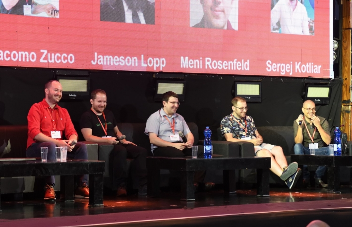 Left to right: Jameson Lopp of lightning node maker Casa, Giacomo Zucco of Spectrum Network, Meni Rosenfeld of the Tel Aviv Bitcoin Embassy and Sergej Kotliar of Bitrefill speak at DD&D Tel Aviv.