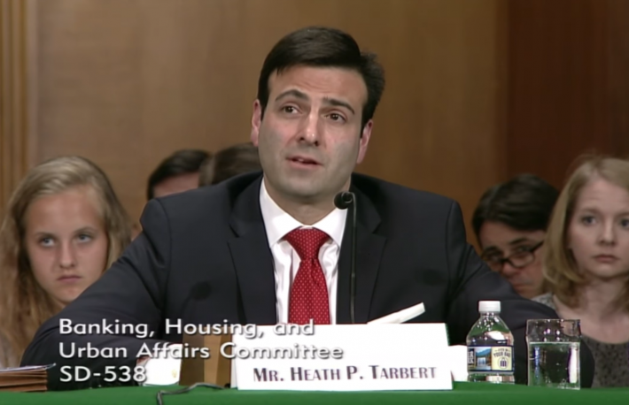 Heath Tarbert testifies before the Senate Banking Committee, May 2017 https://www.youtube.com/watch?time_continue=1&v=Js13HMvVZjM