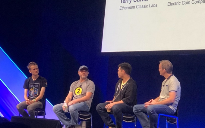 Devcon interoperability panel, with Vitalik Buterin, Josh Swihart, Tendermint co-founder Jae Kwon and Ethereum Classic Labs cofounder Terry Culver, image via Leigh Cuen for CoinDesk