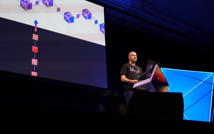 Joseph Lubin speaks at Devcon 5, Osaka, Japan, October 2019, image via ConsenSys