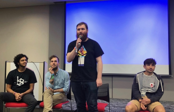 Ethereum Foundation community manager Hudson Jameson speaks at Devcon5, Osaka, Japan, image via Leigh Cuen for CoinDesk