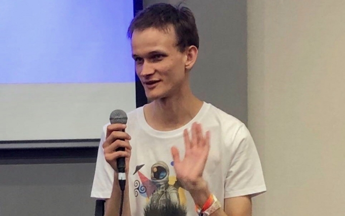 Ethereum creator Vitalik Buterin speaks at Devcon5, Osaka, Japan, Oct. 8, 2019, image via Leigh Cuen for CoinDesk