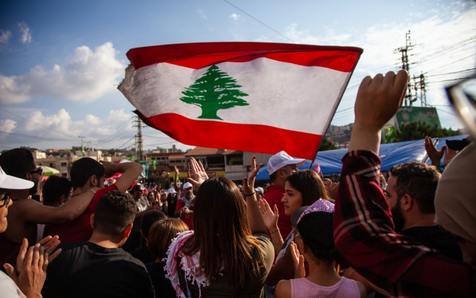 Lebanese protestors in October, image via Shutterstock