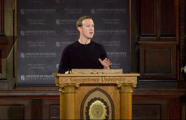 Mark Zuckerberg speaks at Georgetown University, Oct. 17, 2019, screenshot via Facebook Live