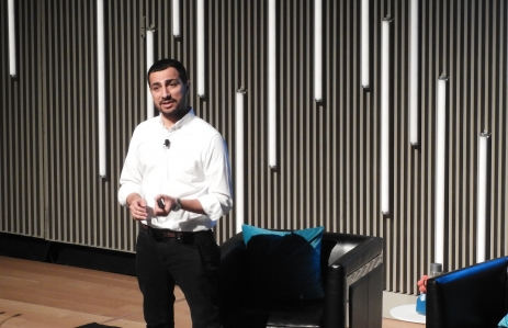 Muneeb Ali speaks at Blockstack Summit 2019, photo by Brady Dale for CoinDesk