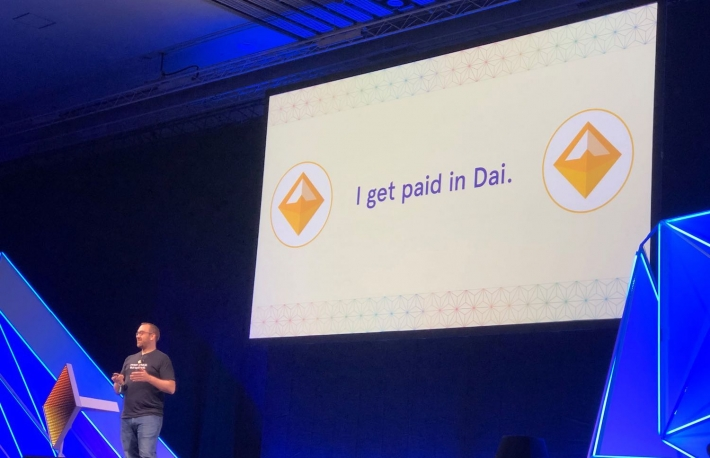 Mariano Conti presenting about how he uses DAI for daily expenses at Devcon5 image via Leigh Cuen, CoinDesk