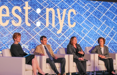 Mary Beth Buchanan, Chris Land, Caitlin Long,   Annette Nazareth at Invest: NYC 2019 via CoinDesk archives